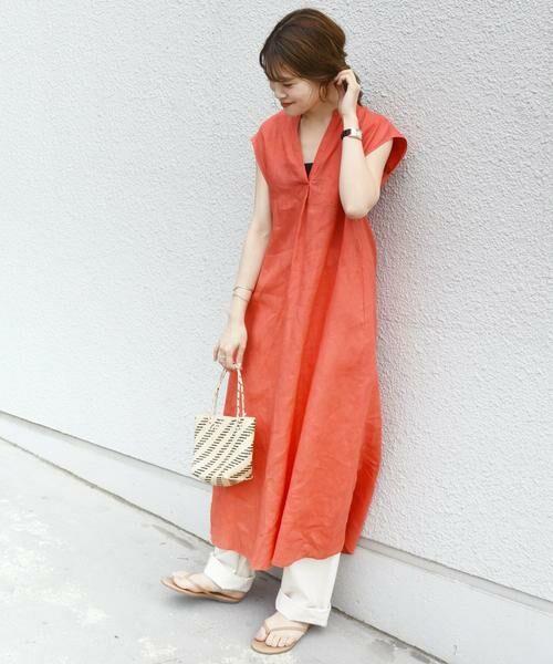 SHIPS for women / シップスウィメン ロング・マキシ丈ワンピース   リネンノースリーブワンピース(オレンジ)
