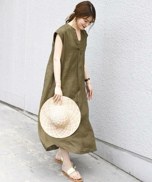 SHIPS for women / シップスウィメン ロング・マキシ丈ワンピース   リネンノースリーブワンピース(オリーブ)