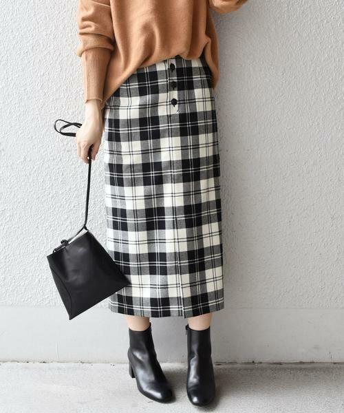 SHIPS for women / シップスウィメン ミニ・ひざ丈スカート | タータンチェックタイトスカート◇(ブラック)