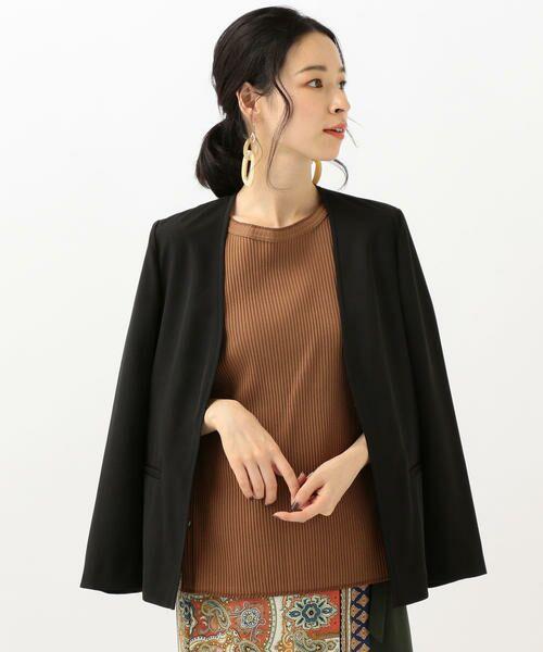 SHIPS for women / シップスウィメン ノーカラージャケット | 【セットアップ対応可能】羽織りジャケット(ブラック)