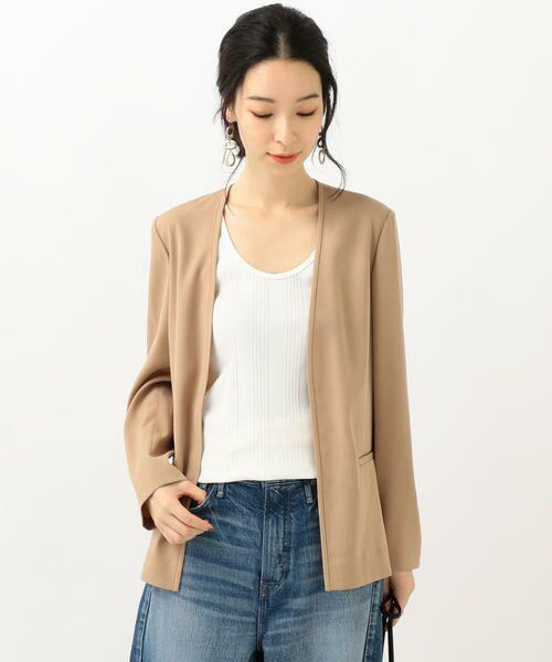 SHIPS for women / シップスウィメン ノーカラージャケット | 【セットアップ対応可能】羽織りジャケット(ベージュ)