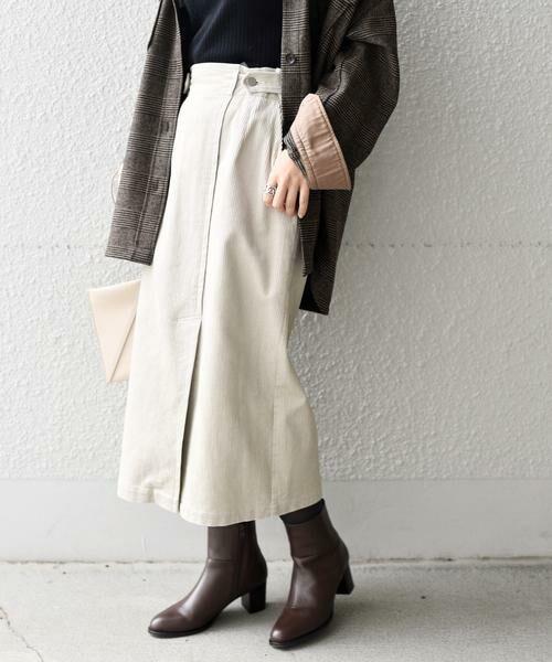 SHIPS for women / シップスウィメン ミニ・ひざ丈スカート | コーデュロイスリットスカート | 詳細3