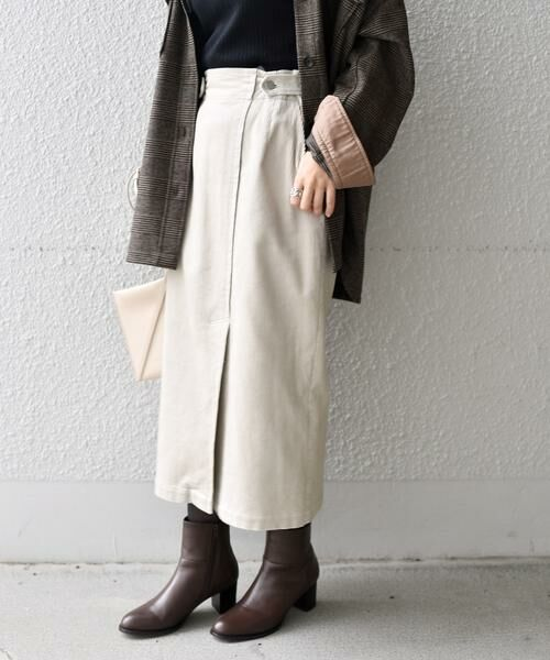 SHIPS for women / シップスウィメン ミニ・ひざ丈スカート | コーデュロイスリットスカート(ライトグレー)