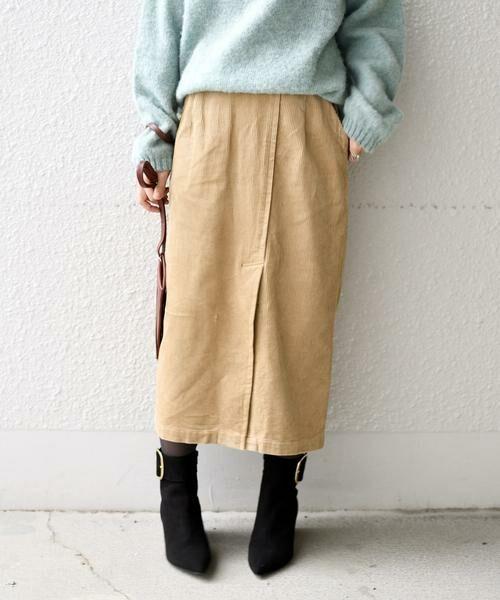 SHIPS for women / シップスウィメン ミニ・ひざ丈スカート | コーデュロイスリットスカート(ベージュ)