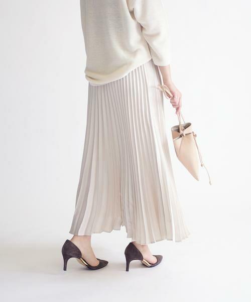 SHIPS for women / シップスウィメン ミニ・ひざ丈スカート | サテンプリーツスカート◇(ベージュ)