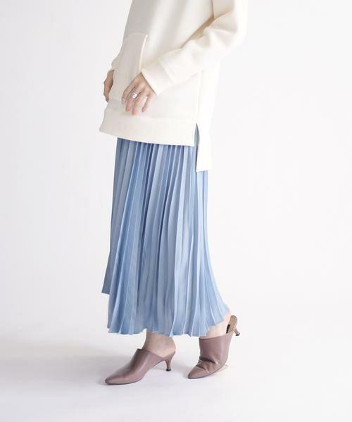SHIPS for women / シップスウィメン ミニ・ひざ丈スカート | サテンプリーツスカート◇(スカイブルー)