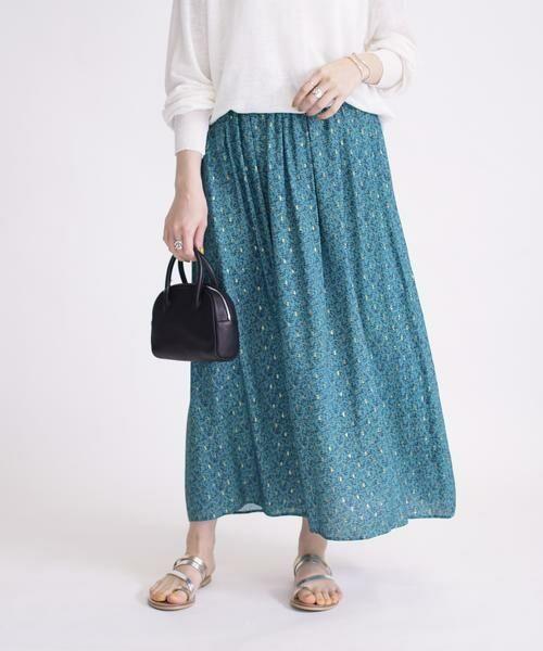 SHIPS for women / シップスウィメン ロング・マキシ丈スカート | ラメプリントギャザースカート | 詳細9