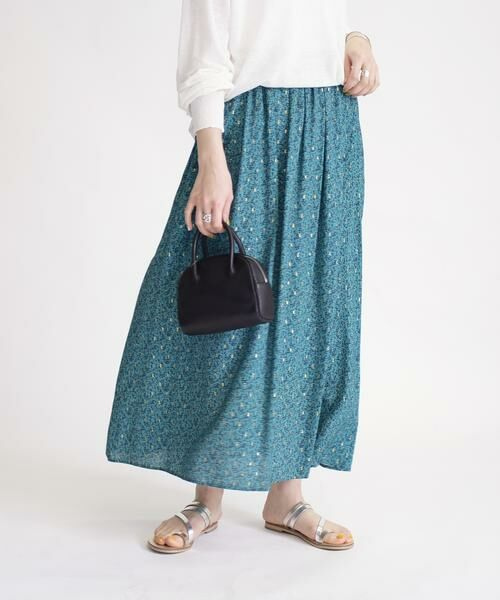 SHIPS for women / シップスウィメン ロング・マキシ丈スカート | ラメプリントギャザースカート(グリーン)