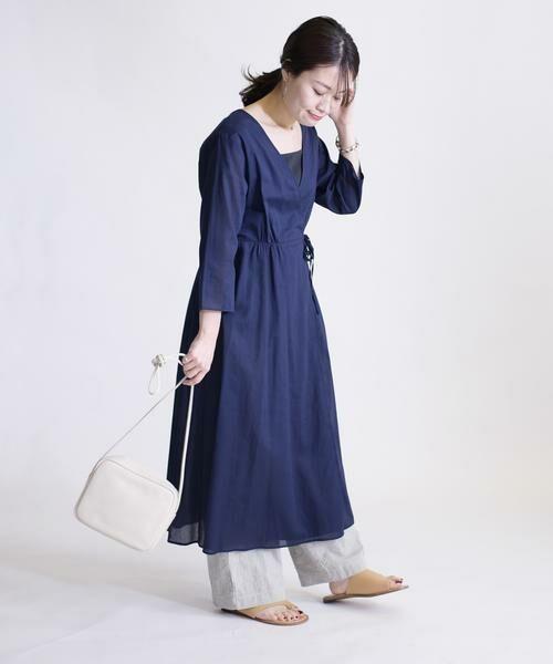 SHIPS for women / シップスウィメン ミニ丈・ひざ丈ワンピース   コットンカシュクール2WAYワンピース(ネイビー)