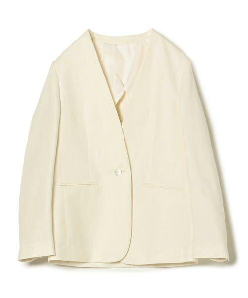 SHIPS for women / シップスウィメン ノーカラージャケット | NALYAノーカラー1ボタンジャケット(オフホワイト)
