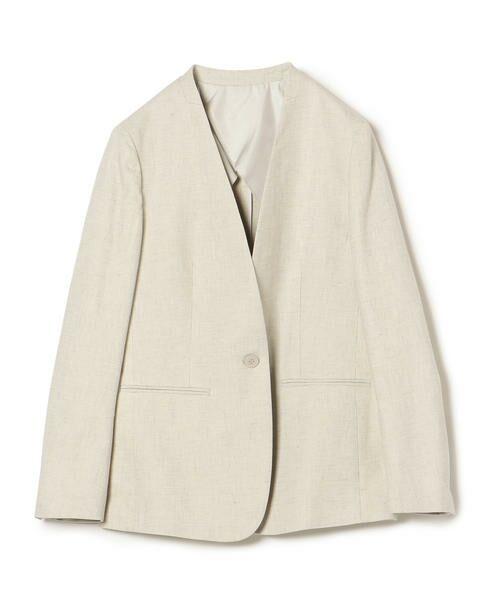 SHIPS for women / シップスウィメン ノーカラージャケット | NALYAノーカラー1ボタンジャケット(ライトグレー)