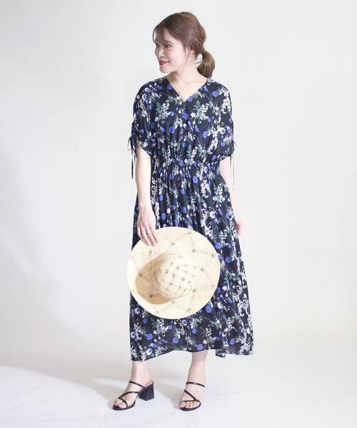 SHIPS for women / シップスウィメン ロング・マキシ丈ワンピース | リバティドルマンワンピース(ブラック)