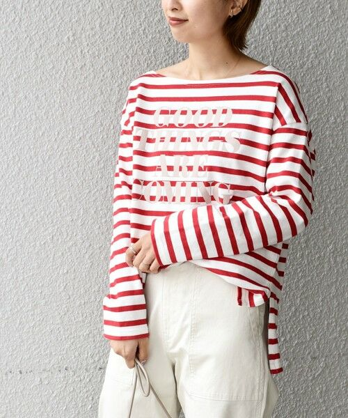 SHIPS for women / シップスウィメン カットソー   【WEB限定】プリントボーダールーズトップス◇(レッド)