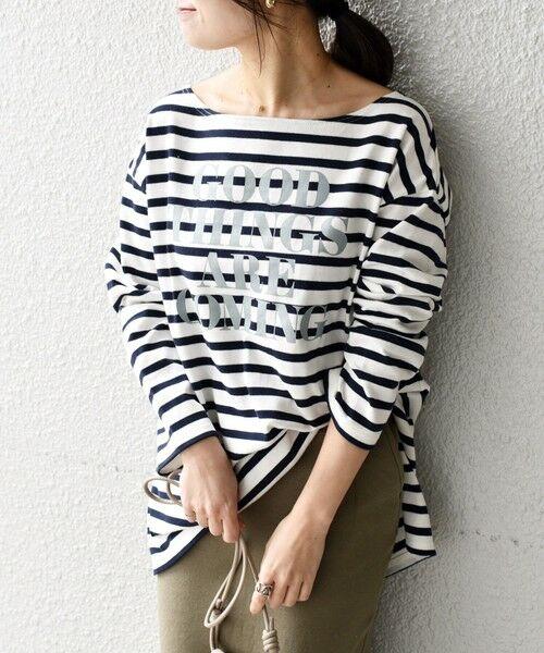 SHIPS for women / シップスウィメン カットソー   【WEB限定】プリントボーダールーズトップス◇(ダークブルー)
