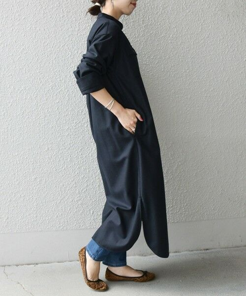 SHIPS for women / シップスウィメン ロング・マキシ丈ワンピース   SHIPS any: ウール メランジ シャツワンピース(ネイビー)