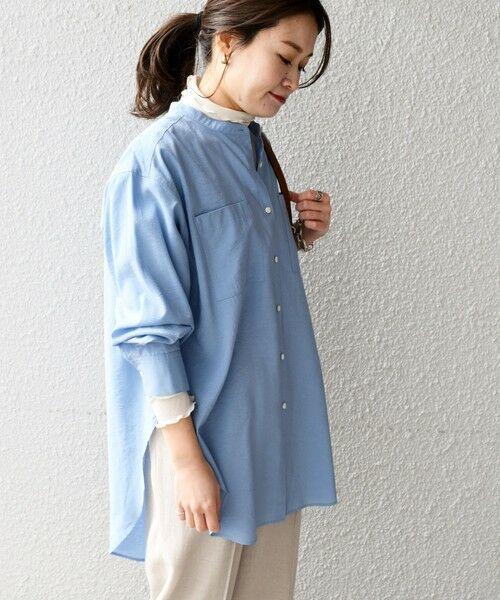 SHIPS for women / シップスウィメン シャツ・ブラウス   〈手洗い可能〉MANTECOシャツ◇(ブルー)