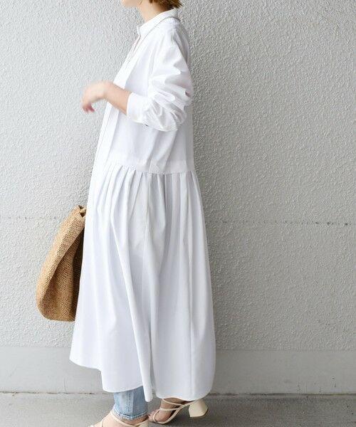 SHIPS for women / シップスウィメン ミニ丈・ひざ丈ワンピース | 《予約》【WEB限定】タック切替ワンピース◆(ライトホワイト)