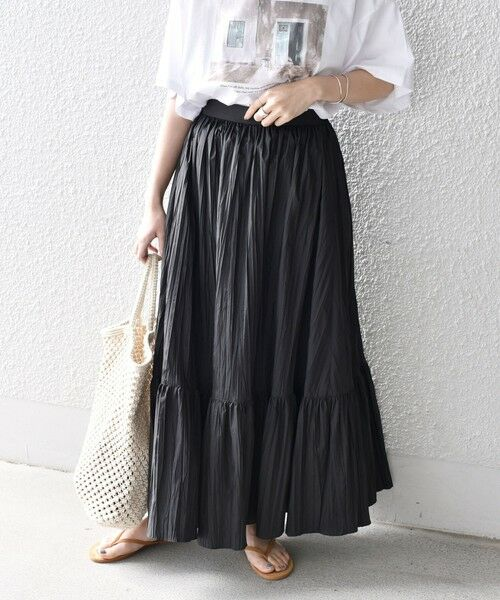SHIPS for women / シップスウィメン ロング・マキシ丈スカート   リンクルティアードスカート(ブラック)