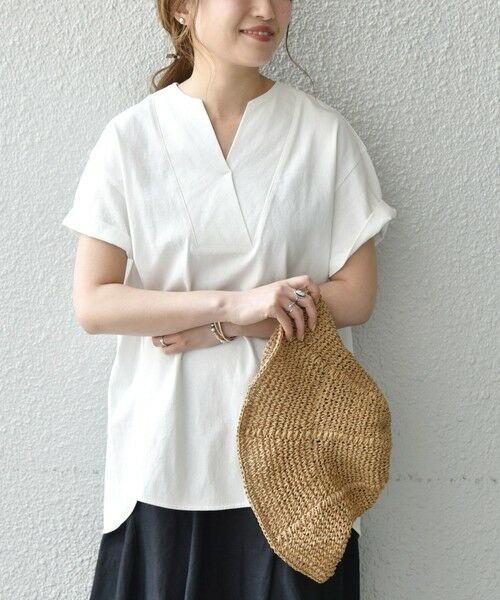 SHIPS for women / シップスウィメン Tシャツ | 《追加予約》SHIPS any: USAコットン スキッパーTEE(ホワイト)
