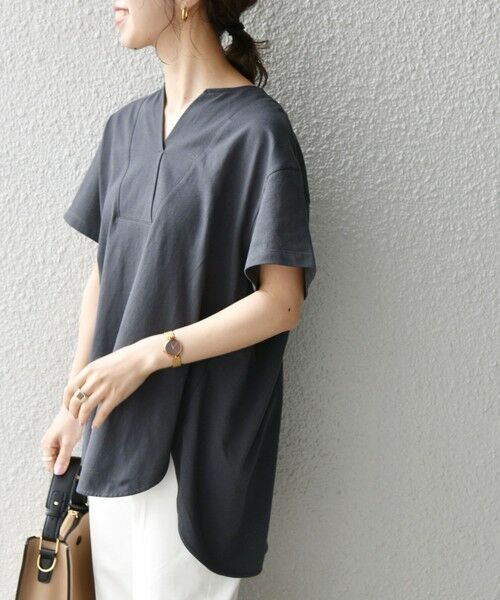 SHIPS for women / シップスウィメン Tシャツ | 《追加予約》SHIPS any: USAコットン スキッパーTEE(チャコールグレー)