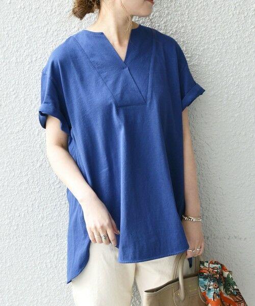 SHIPS for women / シップスウィメン Tシャツ | 《追加予約》SHIPS any: USAコットン スキッパーTEE(ブルー)