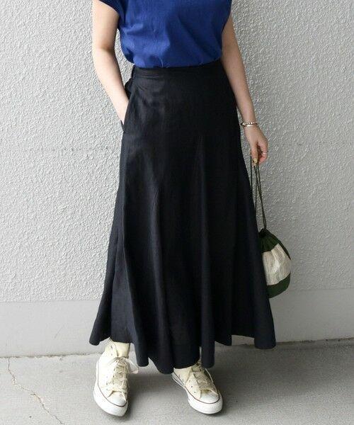 SHIPS for women / シップスウィメン ロング・マキシ丈スカート | 《一部追加予約》SHIPS any: リネン ミックス ランダム フレア スカート(ブラック)