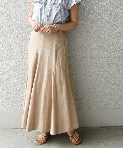SHIPS for women / シップスウィメン ロング・マキシ丈スカート | 《一部追加予約》SHIPS any: リネン ミックス ランダム フレア スカート(ベージュ)