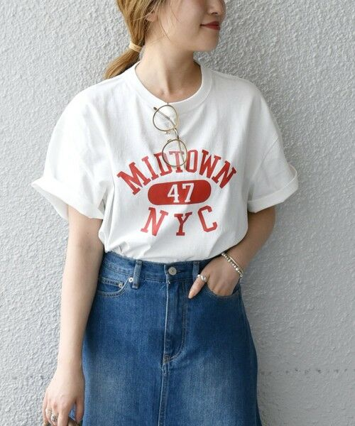 SHIPS for women / シップスウィメン Tシャツ | 《予約》【SHIPS any別注】THE KNiTS: カレッジ ショートスリーブ TEE(ホワイト)