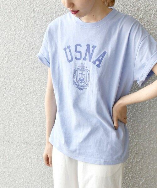 SHIPS for women / シップスウィメン Tシャツ | 《予約》【SHIPS any別注】THE KNiTS: カレッジ ショートスリーブ TEE(バイオレット)
