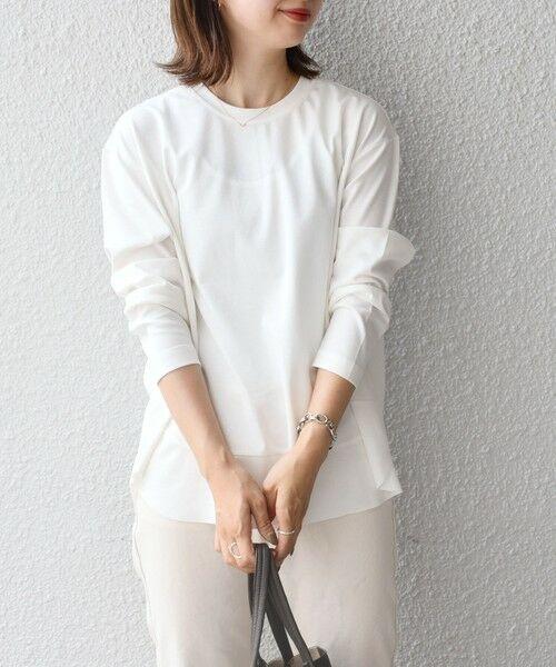 SHIPS for women / シップスウィメン カットソー   【WEB限定】カットオフラウンドへムロングスリーブTEE◇(ライトホワイト)