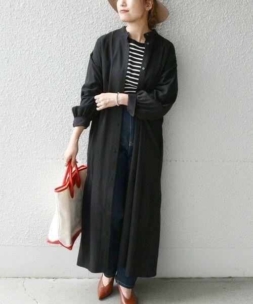 SHIPS for women / シップスウィメン ロング・マキシ丈ワンピース | SHIPS any:〈ウォッシャブル〉バックフレア シャツ ワンピース(ブラック)