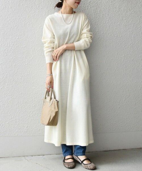 SHIPS for women / シップスウィメン ロング・マキシ丈ワンピース | SHIPS any: テント ニット ワンピース(ホワイト)