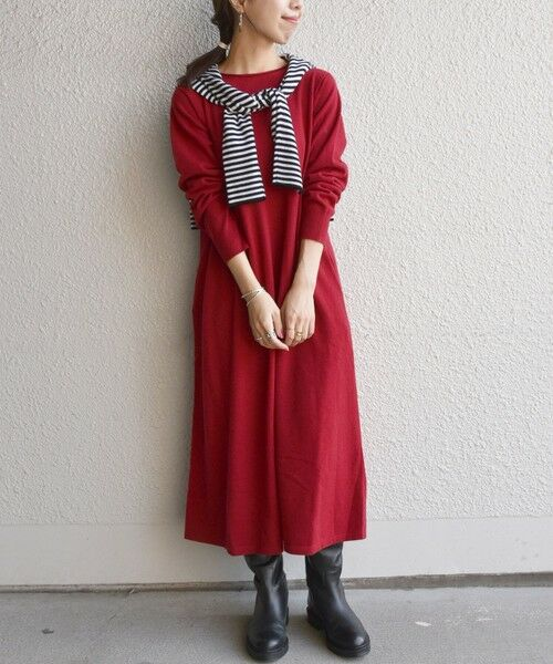 SHIPS for women / シップスウィメン ロング・マキシ丈ワンピース | SHIPS any: テント ニット ワンピース(レッド)