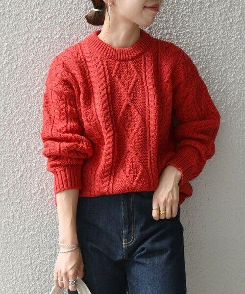 SHIPS for women / シップスウィメン ニット・セーター | 【SHIPS any別注】Oldderby Knitwear: アラン ケーブル ニット プルオーバー(レッド)