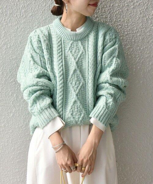 SHIPS for women / シップスウィメン ニット・セーター | 【SHIPS any別注】Oldderby Knitwear: アラン ケーブル ニット プルオーバー(ライトグリーン)