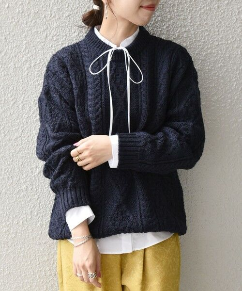 SHIPS for women / シップスウィメン ニット・セーター | 【SHIPS any別注】Oldderby Knitwear: アラン ケーブル ニット プルオーバー(ネイビー)