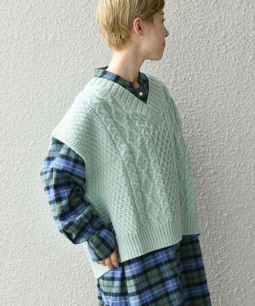 SHIPS for women / シップスウィメン ベスト | 【SHIPS any別注】Oldderby Knitwear: オーバー アラン ケーブル ニット ベスト(ライトグリーン)