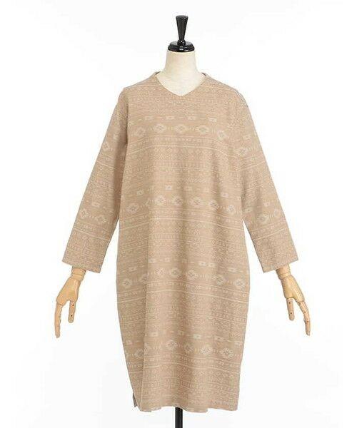 SIMPLE LIFE / シンプルライフ ドレス | ペルーモチーフジャガードワンピース(サンドベージュ)