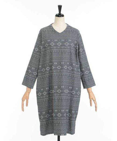 SIMPLE LIFE / シンプルライフ ドレス | ペルーモチーフジャガードワンピース(チャコール)