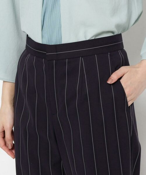 smart pink / スマート ピンク ショート・ハーフ・半端丈パンツ | 【洗える】ストライプ柄ワイドパンツ | 詳細4