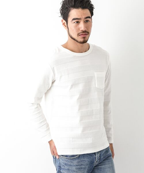 Sonny Label / サニーレーベル Tシャツ | シャドーボーダーロングTシャツ(オフ)