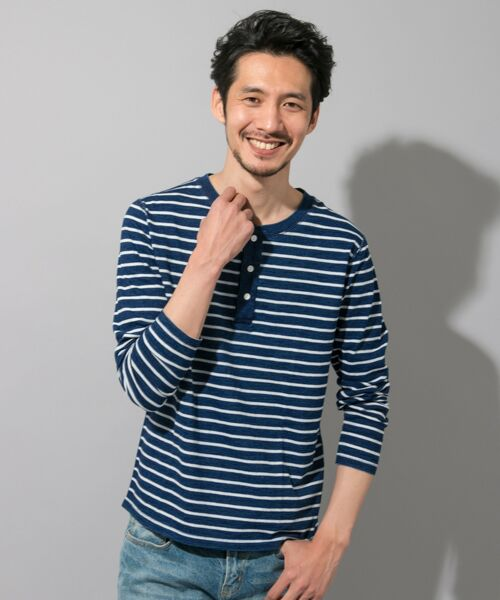 Sonny Label / サニーレーベル Tシャツ | JEMORGAN×Sonny Label 別注ヘンリーロングTシャツ(濃ボーダー)