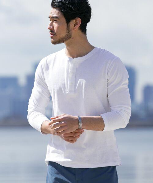 Sonny Label / サニーレーベル Tシャツ | JEMORGAN×Sonny Label 別注ヘンリーロングTシャツ(ホワイト)