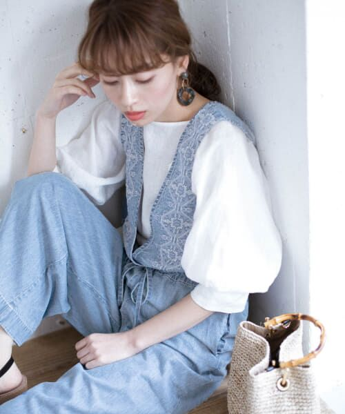 Sonny Label / サニーレーベル サロペット・オールインワン | クロス刺繍デニムサロペット | 詳細2