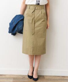 ご好評につき追加予約!脚長効果が期待できるウエストベルトを配したタイトスカート。