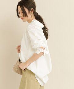 袖ベルトが程良いアクセントを添えてくれるロングシャツ<br><br>POINT<br>・デコルテをキレイに見せてくれるスキッパーデザイン<br>・オーバーサイズが生み出すこなれた抜け感で大人可愛い着こなしに。<br>着丈が長めなので気になるヒップ周りを上手にカバーしてくれます。<br><br>※透け感あり