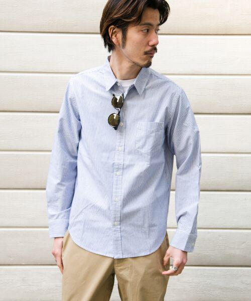 Sonny Label / サニーレーベル シャツ・ブラウス | クイックドライレギュラーシャツ(ブルー×オフ)
