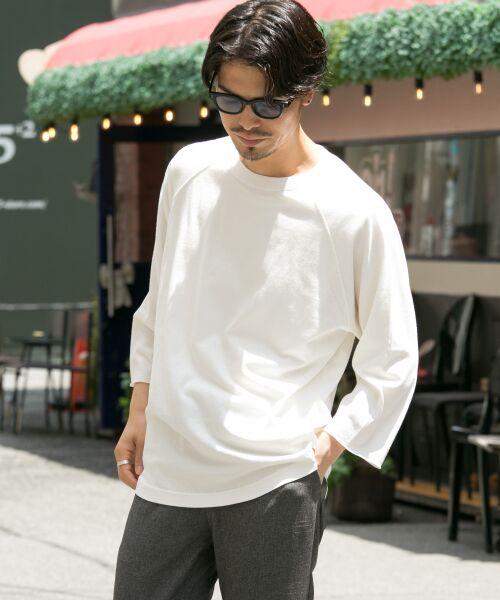 Sonny Label / サニーレーベル Tシャツ | USAcotton七分袖リラックスプルオーバー(ホワイト)