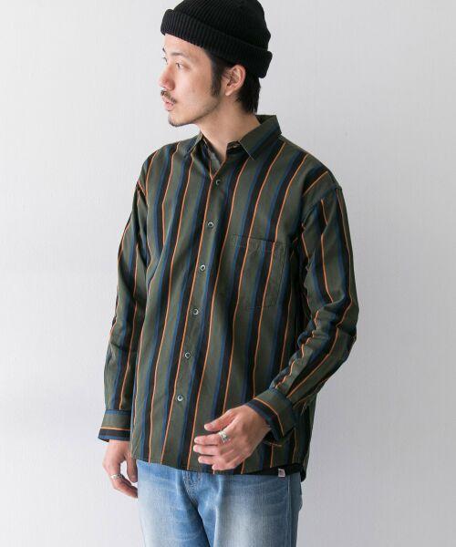 Sonny Label / サニーレーベル シャツ・ブラウス | ジャパンファブリックマルチストライプシャツ(カーキ系)