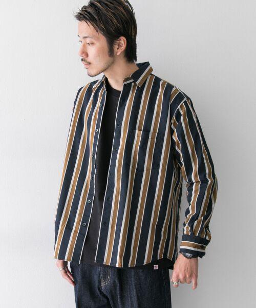 Sonny Label / サニーレーベル シャツ・ブラウス | ジャパンファブリックマルチストライプシャツ(ネイビー系)